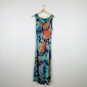 Boho Tie Dye Maxi Dress Sleveless Stretchy Soft M